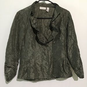 Chico's Green Adjustable Sleeve Button Down Blouse